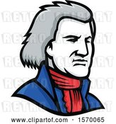 Vector Clip Art of Retro Mascot of Thomas Jefferson by Patrimonio