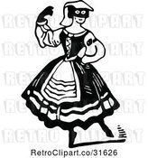 Vector Clip Art of Retro Masked Actress by Prawny Vintage