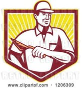 Vector Clip Art of Retro Mason Worker Guy with a Trowel over a Ray Crest Shield by Patrimonio
