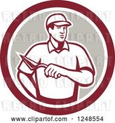 Vector Clip Art of Retro Mason Worker with a Trowel in a Circle by Patrimonio