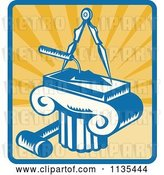 Vector Clip Art of Retro Masonry Trowel Compass Mallet and Column over Rays by Patrimonio