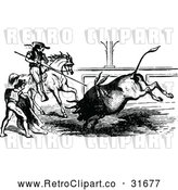 Vector Clip Art of Retro Matador and Spearman in a Bull Fight by Prawny Vintage