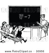 Vector Clip Art of Retro Math Teacher and Students Studying by Prawny Vintage