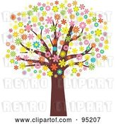 Vector Clip Art of Retro Mature Tree with an Umbrella of Blossoming Flowers by KJ Pargeter