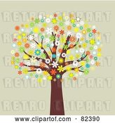 Vector Clip Art of Retro Mature Tree with Colorful Blossoming Flowers by KJ Pargeter