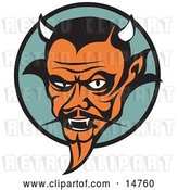 Vector Clip Art of Retro Mean Old Male Devil with Fangs and Horns by Andy Nortnik