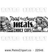 Vector Clip Art of Retro Meat Grocery Sign by BestVector