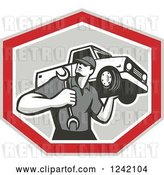 Vector Clip Art of Retro Mechanic Carrying a Wrench and Pickup Truck in a Shield by Patrimonio