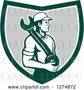Vector Clip Art of Retro Mechanic Guy Holding a Giant Spanner Wrench in a Green White and Gray Shield by Patrimonio