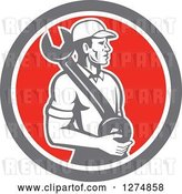 Vector Clip Art of Retro Mechanic Guy Holding a Giant Spanner Wrench in a Taupe White and Red Circle by Patrimonio