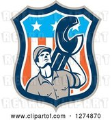 Vector Clip Art of Retro Mechanic Guy Holding a Giant Spanner Wrench in an American Flag Shield by Patrimonio