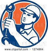Vector Clip Art of Retro Mechanic Guy Holding a Spanner Wrench in a Blue White and Orange Circle by Patrimonio