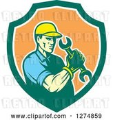 Vector Clip Art of Retro Mechanic Guy Holding a Spanner Wrench in a Green White and Orange Shield by Patrimonio