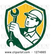 Vector Clip Art of Retro Mechanic Guy Holding a Spanner Wrench in a Green White and Yellow Shield by Patrimonio