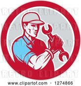 Vector Clip Art of Retro Mechanic Guy Holding a Spanner Wrench in a Red White and Gray Circle by Patrimonio