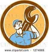 Vector Clip Art of Retro Mechanic Guy Holding a Spanner Wrench in a Yellow Brown and White Circle by Patrimonio