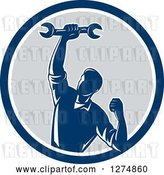 Vector Clip Art of Retro Mechanic Guy Pumping His Fist and a Spanner Wrench in a Blue White and Gray Circle by Patrimonio
