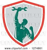 Vector Clip Art of Retro Mechanic Guy Pumping His Fist and a Spanner Wrench in a Red White and Gray Shield by Patrimonio