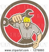 Vector Clip Art of Retro Mechanic Guy Running and Holding a Giant Spanner Wrench in a Bown White and Red Circle by Patrimonio