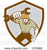 Vector Clip Art of Retro Mechanic Guy Running and Holding a Giant Spanner Wrench in a Brown White and Gray Shield by Patrimonio