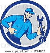 Vector Clip Art of Retro Mechanic Guy Shouting and Holding a Spanner Wrench in a Blue White and Gray Circle by Patrimonio