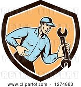 Vector Clip Art of Retro Mechanic Guy Shouting and Holding a Spanner Wrench in a Brown White and Orange Shield by Patrimonio