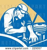 Vector Clip Art of Retro Mechanic Working on an Engine by Patrimonio