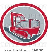 Vector Clip Art of Retro Mechanical Digger in an Oval by Patrimonio