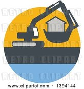 Vector Clip Art of Retro Mechanical Digger Machine Moving a House in a Yellow Gray and Blue Circle by Patrimonio