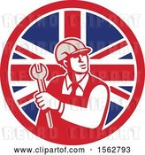 Vector Clip Art of Retro Mechanical Engineer Holding a Spanner Wrench in a Union Jack Flag by Patrimonio
