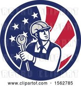 Vector Clip Art of Retro Mechanical Engineer Holding a Spanner Wrench in an American Flag by Patrimonio