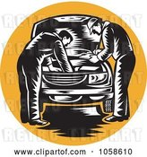 Vector Clip Art of Retro Mechanics Working on an Engine over an Orange Circle by Patrimonio
