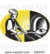 Vector Clip Art of Retro Medieval Baker Using a Bread Pan by Patrimonio