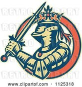 Vector Clip Art of Retro Medieval Crowned Knight with a Sword in an Orange Ring by Patrimonio