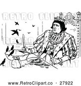 Vector Clip Art of Retro Medieval King and Birds with a Pie by Prawny Vintage