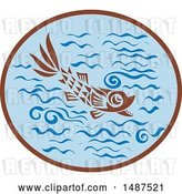 Vector Clip Art of Retro Medieval Styled Fish in Water by Patrimonio
