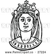 Vector Clip Art of Retro Medieval Woman and Headdress 7 by Prawny Vintage