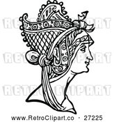 Vector Clip Art of Retro Medieval Woman and Headdress by Prawny Vintage