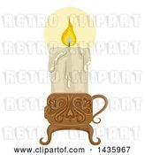 Vector Clip Art of Retro Melting and Lit Candle in a Holder by BNP Design Studio
