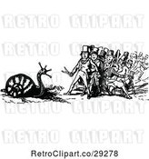Vector Clip Art of Retro Men Afraid of a Giant Snail by Prawny Vintage