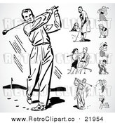 Vector Clip Art of Retro Men and Women Golfing by BestVector