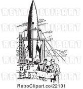 Vector Clip Art of Retro Men by a Missile by BestVector