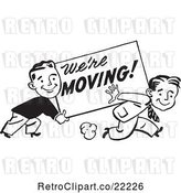 Vector Clip Art of Retro Men Carrying a We're Moving Sign by BestVector