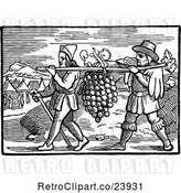 Vector Clip Art of Retro Men Carrying Giant Grapes by Prawny Vintage