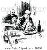 Vector Clip Art of Retro Men Dining Alone by Prawny Vintage