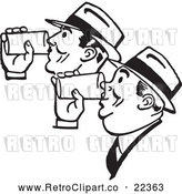 Vector Clip Art of Retro Men Drinking Beer Together by BestVector