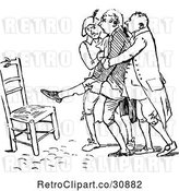 Vector Clip Art of Retro Men Helping an Injured Guy to a Chair by Prawny Vintage