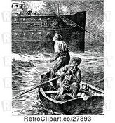 Vector Clip Art of Retro Men in a Boat by a Ship by Prawny Vintage