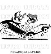 Vector Clip Art of Retro Men in a Head on Collision by BestVector