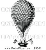 Vector Clip Art of Retro Men in a Hot Air Balloon with American Flags by Prawny Vintage
